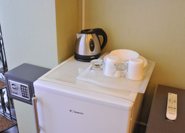 Холодильник, эл.чайник, посуда   в номере